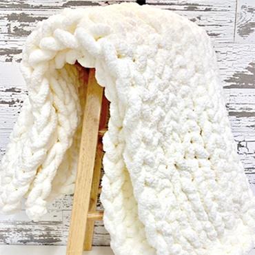 Hand Knit Chenille Yarn Blanket